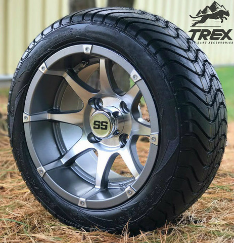 "12"" BANSHEE Gunmetal Aluminum Wheels and 215/40-12 Low Profile Tires"