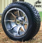 """12"""" BANSHEE Gunmetal Aluminum Wheels and 215/40-12 Low Profile Tires"""