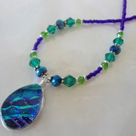 FUSED GLASS BLUE GREEN NECKLACE, ONE OF A KIND HANDMADE IN THE USA