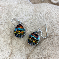 FAUX SILK FUSED GLASS EARRINGS SET IN SILVER HANDMADE IN THE USA