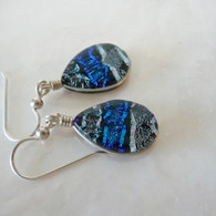 Ice Blue Dichroic & fused glass earrings - handmade in the usa
