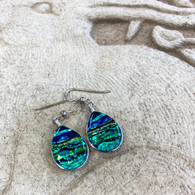 GREEN GOLD FUSED GLASS EARRINGS SET IN SILVER HANDMADE IN THE USA