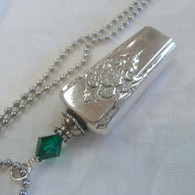 ANGEL BELL NECKLACE  Emerald Swarovski Crystal 1954 Mountain Rose Necklace 2429