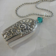 ANGEL BELL NECKLACE  Teal Swarovski Crystal 1953 Jubilee Necklace 776