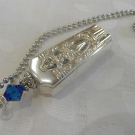 ANGEL BELL NECKLACE Swarovski Capri Blue 1937 Classic Filigree 1935
