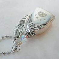 ANGEL PAW FUR-EVER BELL Swarovski Rainbow Frost Necklace 61