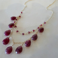 Ruby & 14K gold-filled double strand necklace Handmade in the USA