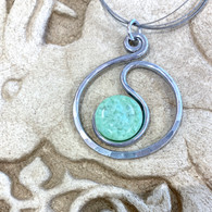 ARTIST JAY Mint Green Scribble Circle Necklace