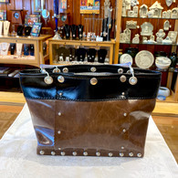 RENEE VEGAN BAG Gloss Brown/Black Split Mid Size Bag