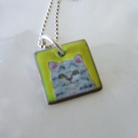 ELVIE ZELL ENAMAL JEWELRY Grey Tabby Cat Necklace