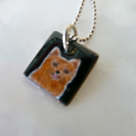 Red Pom Enamel on Copper Dog Necklace Handcrafted in the USA