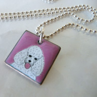 Handcrafted white poodle on enamel necklace Handmade in the USA