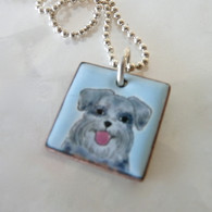 ELVIE ZELL ENAMAL JEWELRY Grey Schnauzer Dog Necklace