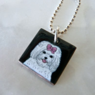 Handcrafted white maltese enamel dog necklace handmade in the USA