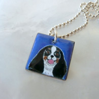 King Charles Tri Color Spaniel handcrafted enamel dog necklace Handmade in the USA