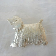 COCKER SPANIEL PIN HANDCRAFTED & HAND TEXTURED IN STERLING SILVER. HANDMADE IN THE USA