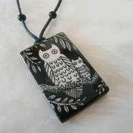 "handmade owl &  baby ceramic necklace, adjustable 30"" cotton cord; handmade in the USA"