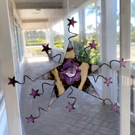 STAR HANGING WINDOW CHARM WITH VIOLET CRYSTAL, BEAUTIFUL REMEMBRANCE GIFT, HANDMADE IN THE USA