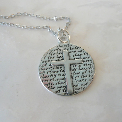 Unique and elegant sterling silver reversible cross Necklace Symbol of Charity -a virtue of the Heart Handmade in the USA