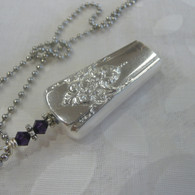 ANGEL BELL NECKLACE Purple Velvet Swarovski 1954 Mountain Rose Necklace 276