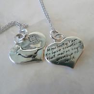 KEVIN N ANNA Angel Cockatiel Bird Silver Heart Reversible Pendant