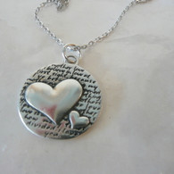 KEVIN N ANNA Two Hearts Mother's Love Silver Necklace