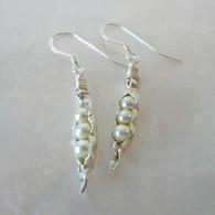 LeDance Pea Pod Silver & Faux Pearl Earrings