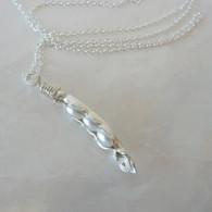 LeDance Pea Pod Silver & Faux Pearl Necklace