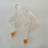 LeDance Treble Music Clef Sterling Silver & Topaz Swarovski Crystal Earrings