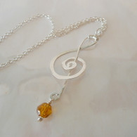 LeDance Treble Music Clef Sterling Silver & Topaz Swarovski Crystall Necklace