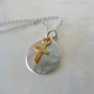 KEVIN N ANNA Gold Dipped Cross Charm Pendant