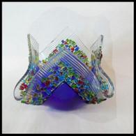 GLASS IMAGES Confetti COBALT BLUE Glass Votive with Tea Light Candle
