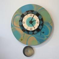 DEBORAH DICKINSON Teal Marble Pendulum Wall Clock