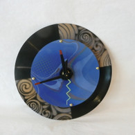 DEBORAH DICKINSON Gold/Blue Marble Baby Double Wall Clock