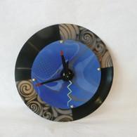 DEBORAH DICKINSON Gold/Blue Marble Baby Double Wall Clock