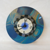 DEBORAH DICKINSON Teal/Black.Gold Checkered Triple Stencil Wall Clock