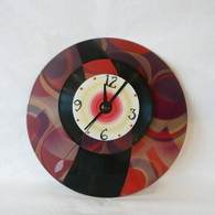 DEBORAH DICKINSON Red Swirl/Black Half Special Wall Clock