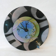DEBORAH DICKINSON Silver/Marble/Black Triple Stencil Wall Clock