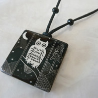 VIRGINIA MISKA CERAMIC JEWELRY Owl Necklase