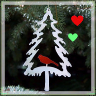 SONDRA GERBER Evergreen Red Bird Hanging Ornament