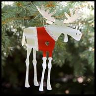 SONDRA GERBER Santa Moose Hanging Ornament
