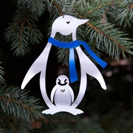 SONDRA GERBER Penguin with Blue Scarf Hanging Ornament