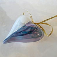 CERAMIC HEART ORNAMENTS  Purple Blue Heart Ornament
