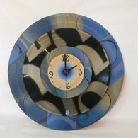 DEBORAH DICKINSON Blue Swirl Marble Super Quad Wall Clock