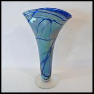ART OF FIRE GLASS Cobalt Blue Luster Fan Vase 1