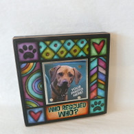 MACONE STUDIO WHO RESCUED WHO? WOOD PICTURE FRAME