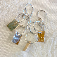THOMAS KUHNER JEWELRY Silver Circles & Gold-Fill Rectangles Earrings
