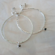 SEMA GURERK Sterling Hammered Hoop with Pyrite