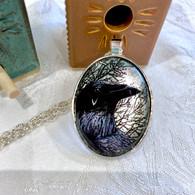 DREAMBIRD ART Raven Tree Silver Leaf Pendant