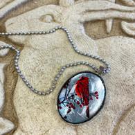 DREAMBIRD ART Cardinal L Silver Leaf Pendant